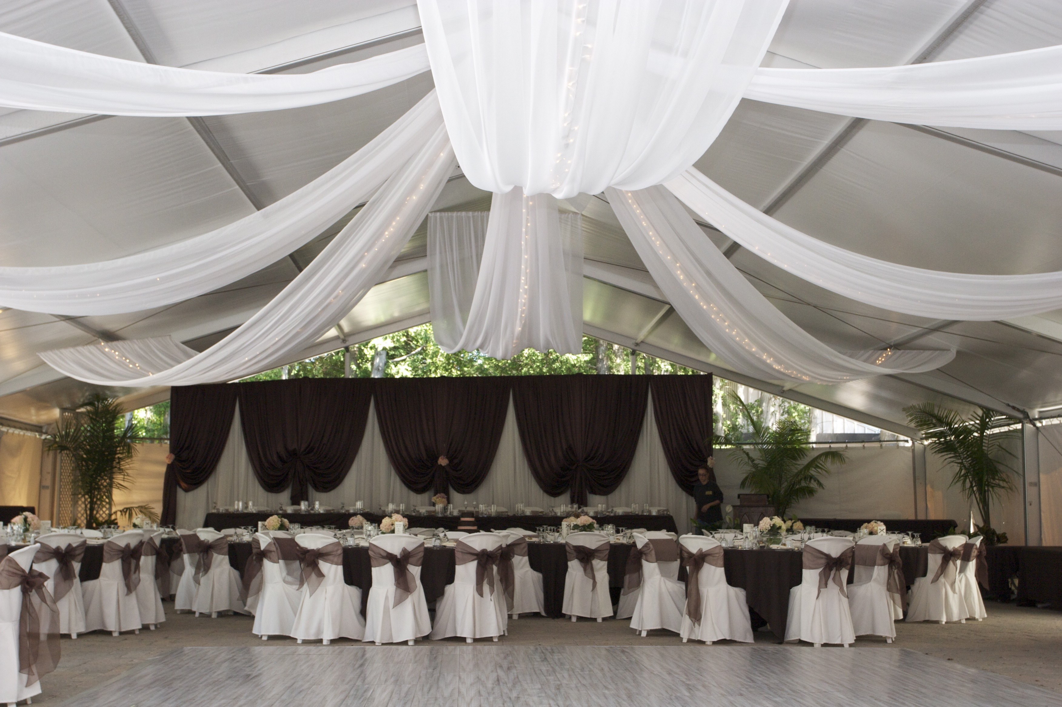 Tent Reception with chocolate brown accents