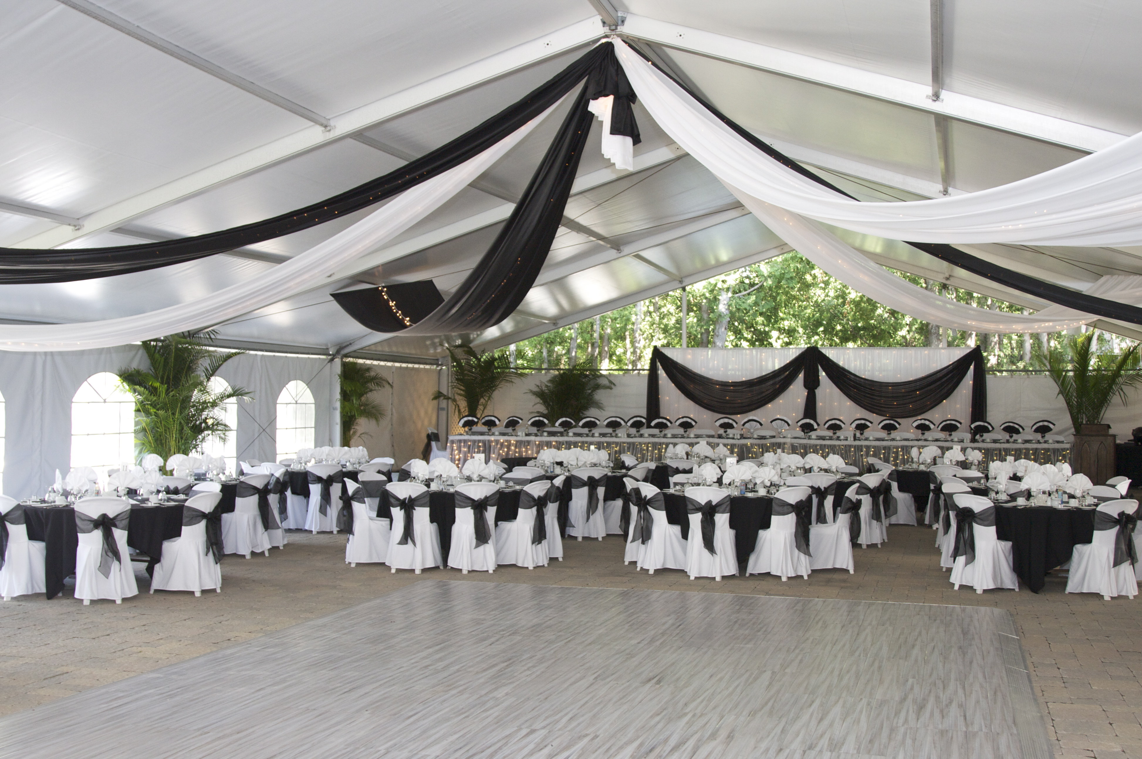 Tent Reception, black & white accents